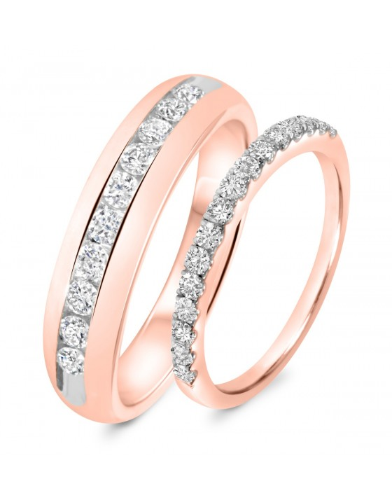 7/8 Carat T.W. Diamond His And Hers Wedding Band Set 10K Rose Gold