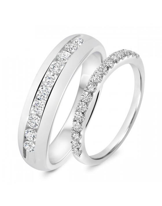 7/8 Carat T.W. Diamond His And Hers Wedding Band Set 10K White Gold