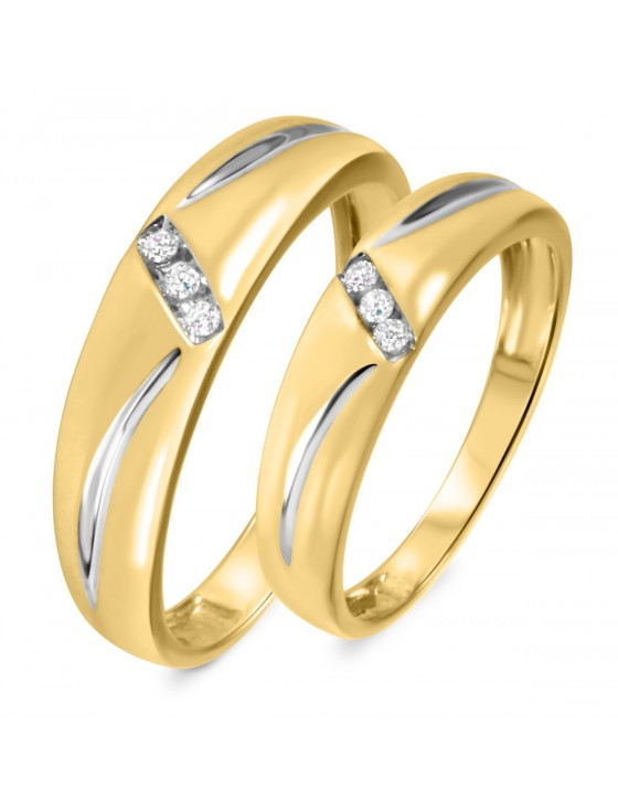 1/10 CT. T.W. Diamond His And Hers Wedding Band Set 14K Yellow Gold