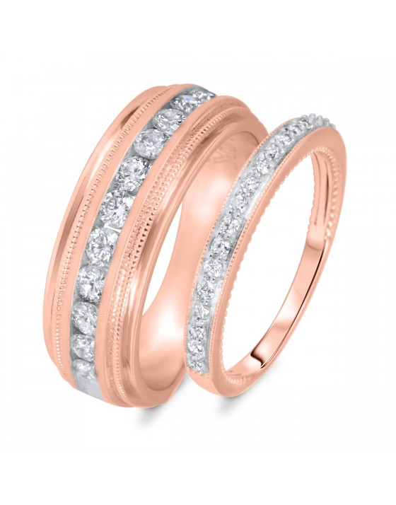 3/4 Carat T.W. Round Cut Diamond His And Hers Wedding Band Set 10K Rose Gold