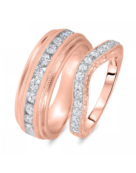 1 Carat T.W. Round Cut Diamond His And Hers Wedding Band Set 10K Rose Gold