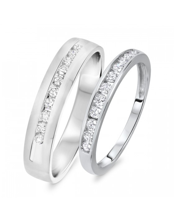 1/2 Carat T.W. Round Cut Diamond His And Hers Wedding Band Set 14K White Gold