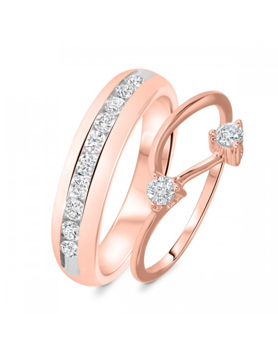 3/4 Carat T.W. Round Cut Diamond His And Hers Wedding Band Set 14K Rose Gold