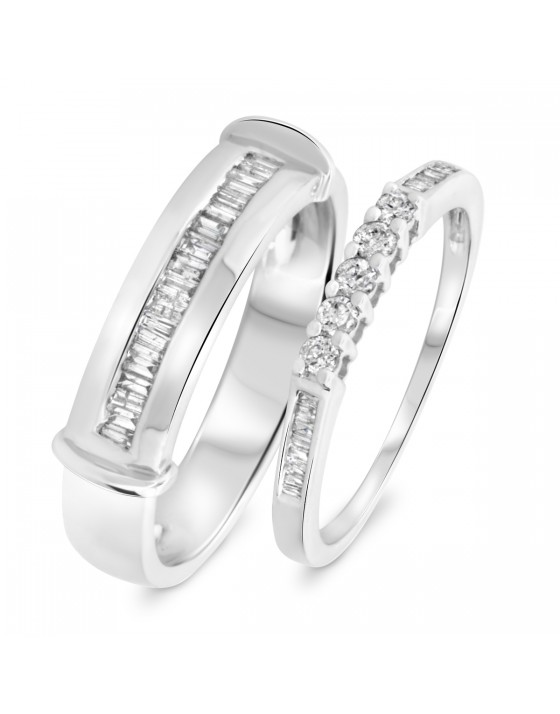 1/2 Carat T.W. Round, Princess Cut Diamond His And Hers Band Set 14K White Gold
