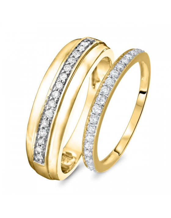 3/8 Carat T.W. Round Cut Diamond His And Hers Wedding Band Set 14K Yellow Gold