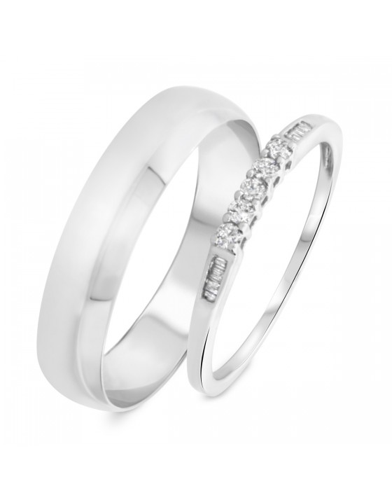 1/6 Carat T.W. Round, Baguette Cut Diamond His and Hers Wedding Band Set 14K White Gold