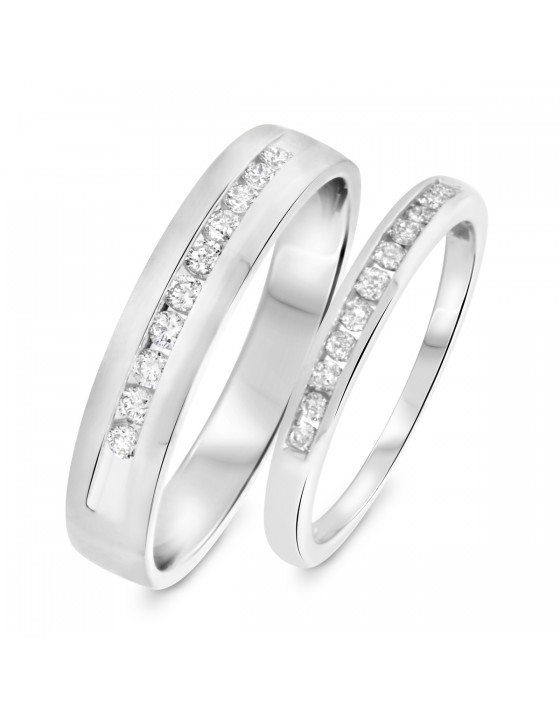 1/2 Carat T.W. Round Cut Diamond His and Hers Wedding Band Set 10K White Gold