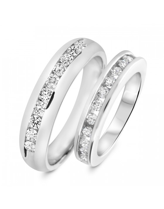 1 Carat T.W. Round Cut Diamond His and Hers Wedding Band Set 14K White Gold