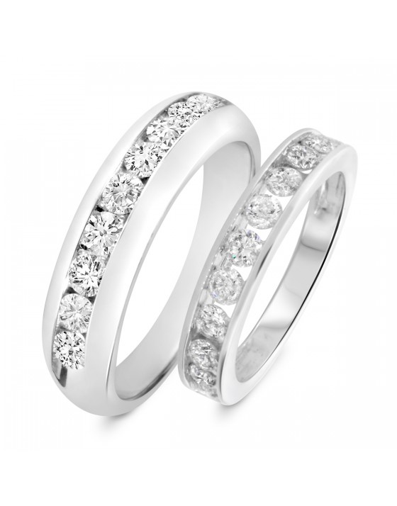 1 7/8 Carat T.W. Round Cut Diamond His and Hers Wedding Band Set 14K White Gold