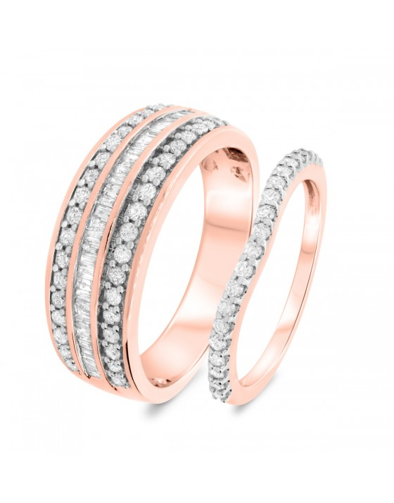1 CT. T.W. Diamond Matching Wedding Band Set 14K Rose Gold
