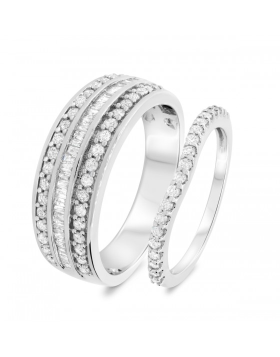 1 Carat T.W. Diamond Matching Wedding Band Set 10K White Gold