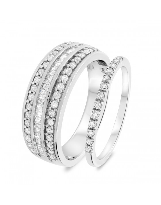 7/8 Carat T.W. Diamond Matching Wedding Band Set 10K White Gold