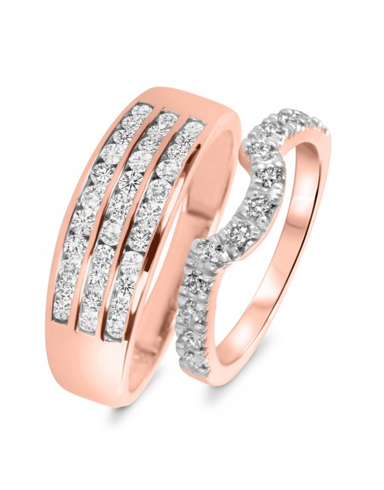 1 Carat T.W. Round Cut Diamond His And Hers Wedding Band Set 14K Rose Gold