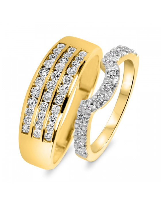 1 Carat T.W. Round Cut Diamond His And Hers Wedding Band Set 10K Yellow Gold