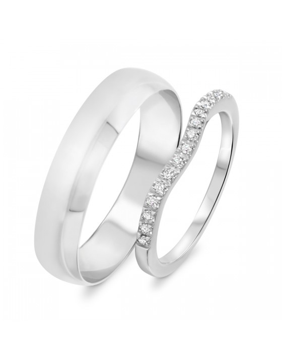 1/8 Carat T.W. Round Cut Diamond His And Hers Wedding Band Set 10K White Gold