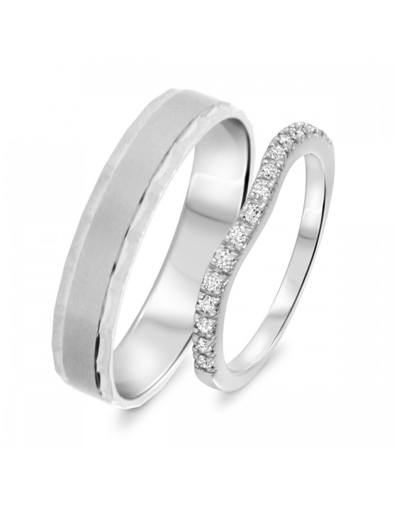 1/3 Carat T.W. Round Cut Diamond His And Hers Wedding Band Set 10K White Gold