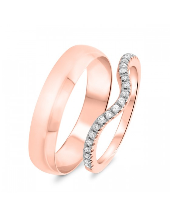 1/6 Carat T.W. Round Cut Diamond His and Hers Wedding Band Set 14K Rose Gold
