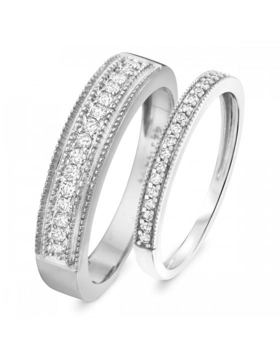 3/8 Carat T.W. Round Cut Diamond His and Hers Wedding Band Set 10K White Gold