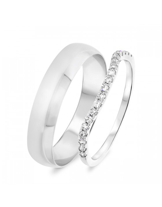 1/5 Carat T.W. Round Cut Diamond His and Hers Wedding Band Set 14K White Gold