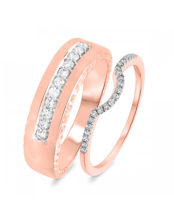 1/3 Carat T.W. Round Cut Diamond His and Hers Wedding Band Set 14K Rose Gold