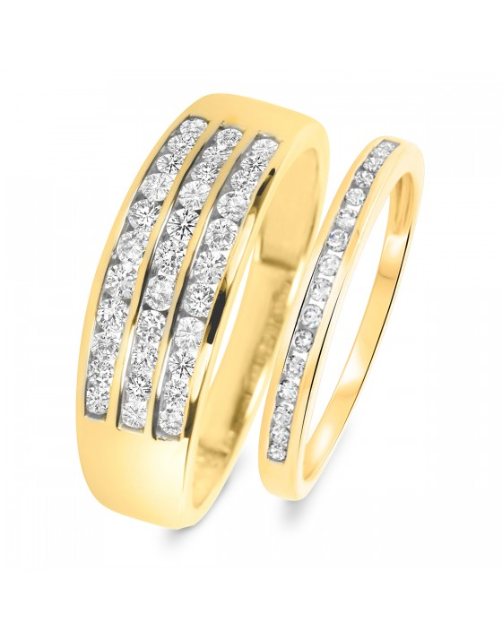 3/4 Carat T.W. Round Cut Diamond His and Hers Wedding Band Set 10K Yellow Gold