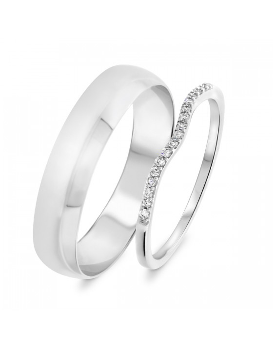 1/10 Carat T.W. Round Cut Diamond His and Hers Wedding Band Set 14K White Gold