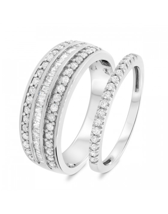 1 Carat T.W. Diamond Matching Wedding Band Set 14K White Gold