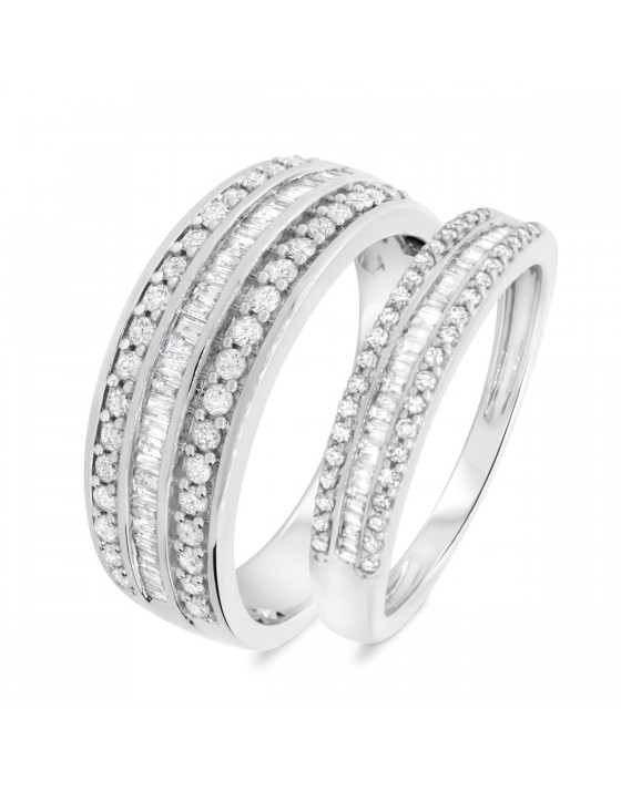 1 1/10 Carat T.W. Diamond Matching Wedding Band Set 14K White Gold