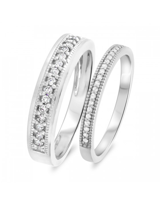 3/8 CT. T.W. Diamond Matching Wedding Band Set 10K White Gold