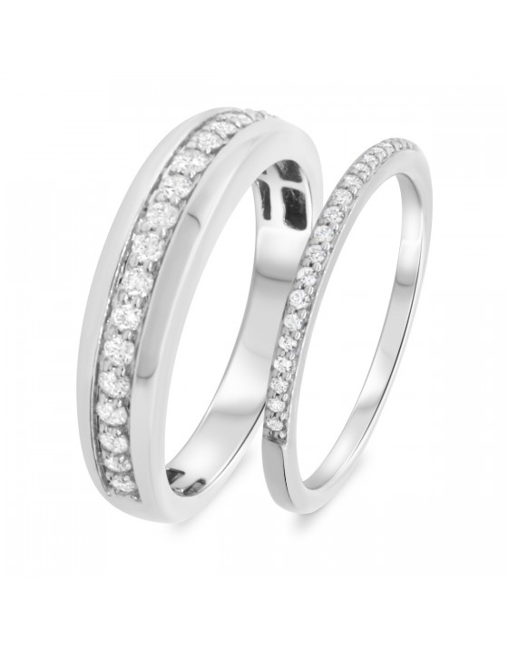 1/2 Carat T.W. Diamond Matching Wedding Band Set 10K White Gold