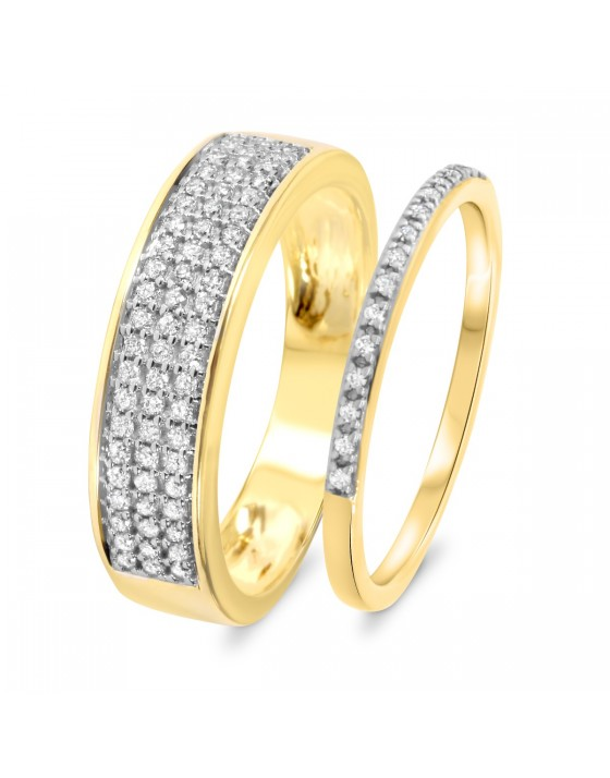 3/8 CT. T.W. Diamond Matching Wedding Band Set 10K Yellow Gold