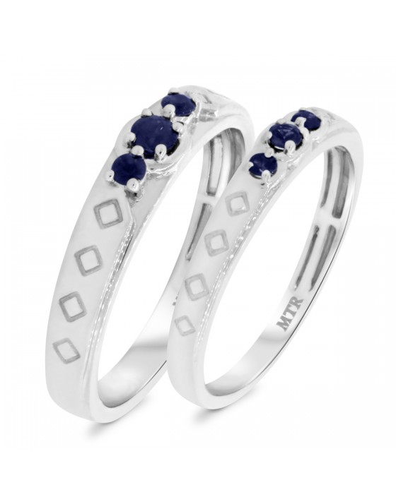 3/8 Carat T.W. Sapphire Matching Wedding Band Set 10K White Gold