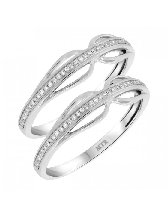1/5 Carat T.W. Diamond Matching Wedding Band Set 10K White Gold