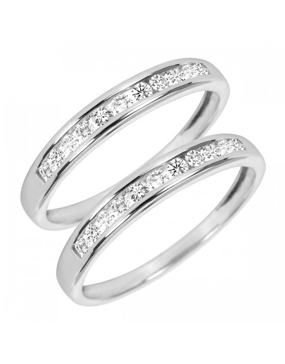 3/8 Carat T.W. Round Cut Ladies Same Sex Wedding Band Set 10K White Gold