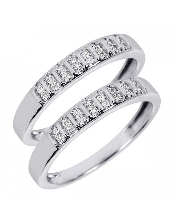 1/5 Carat T.W. Round Cut Ladies Same Sex Wedding Band Set 10K White Gold