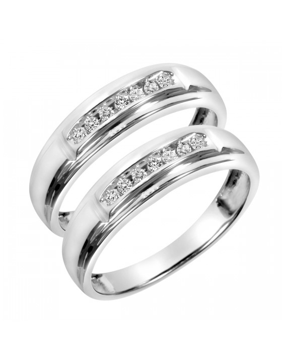 1/10 Carat T.W. Round Cut Ladies Same Sex Wedding Band Set 10K White Gold