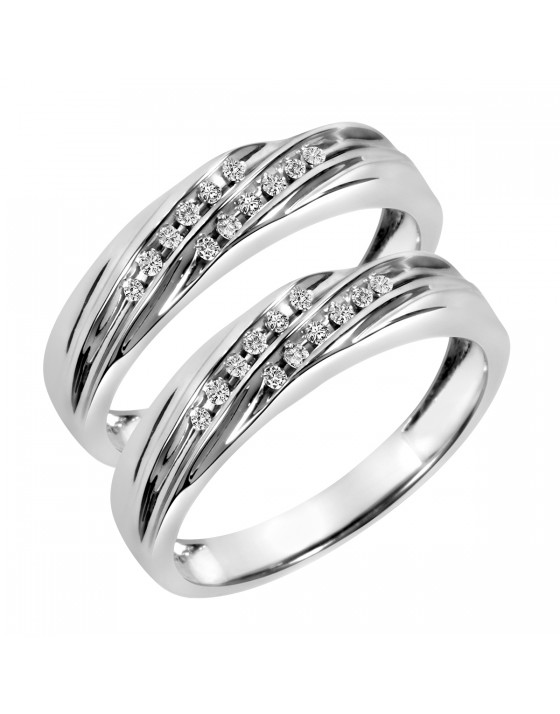 1/8 Carat T.W. Round Cut Ladies Same Sex Wedding Band Set 10K White Gold