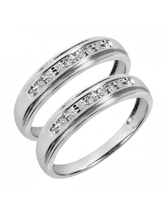 1/6 Carat T.W. Round Cut Ladies Same Sex Wedding Band Set 14K White Gold