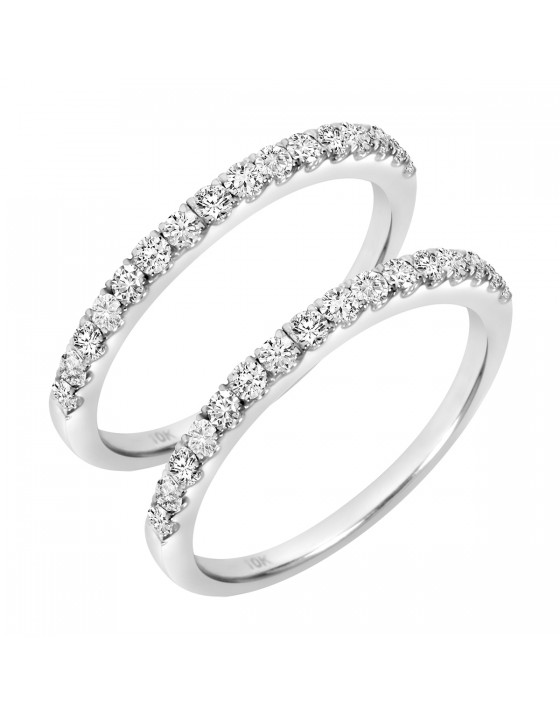 3/4 Carat T.W. Round Cut Ladies Same Sex Wedding Band Set 10K White Gold