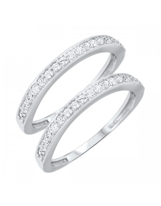 3/8 Carat T.W. Round Cut Ladies Same Sex Wedding Band Set 14K White Gold