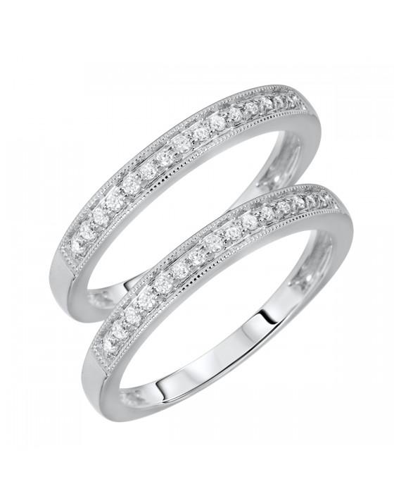 1/6 Carat T.W. Rounds Cut Ladies Same Sex Wedding Band Set 14K White Gold