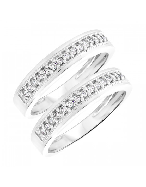 1/2 Carat T.W. Round Cut Mens Same Sex Wedding Band Set 14K White Gold