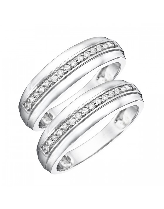 3/8 CT. T.W. Round Cut Mens  Same Sex Wedding Band Set 14K White Gold