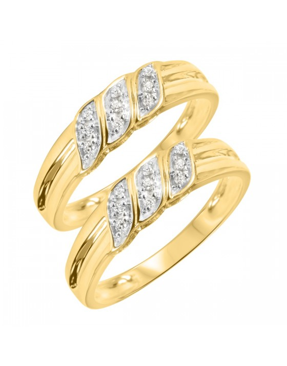 1/5 Carat T.Y. Round Cut Mens  Same Sex Wedding Band Set 10K Yellow Gold