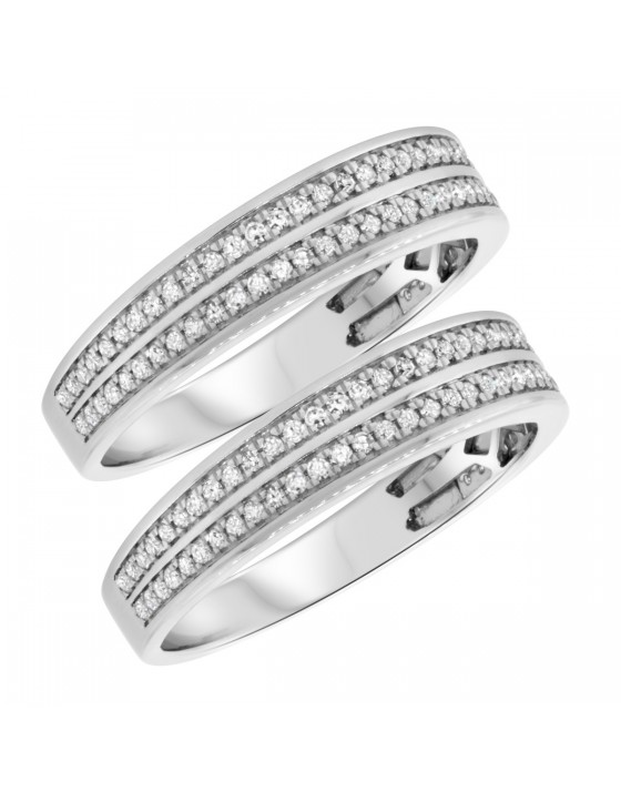 7/8 CT. T.W. Diamond Matching Wedding Band Set 10K White Gold