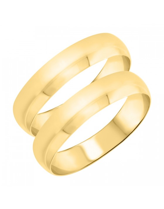 Traditional Matching Wedding Band Set 14K Yellow Gold