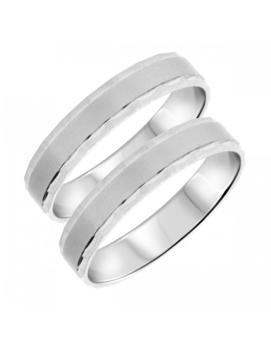 Traditional Matching Wedding Band Set 14K White Gold