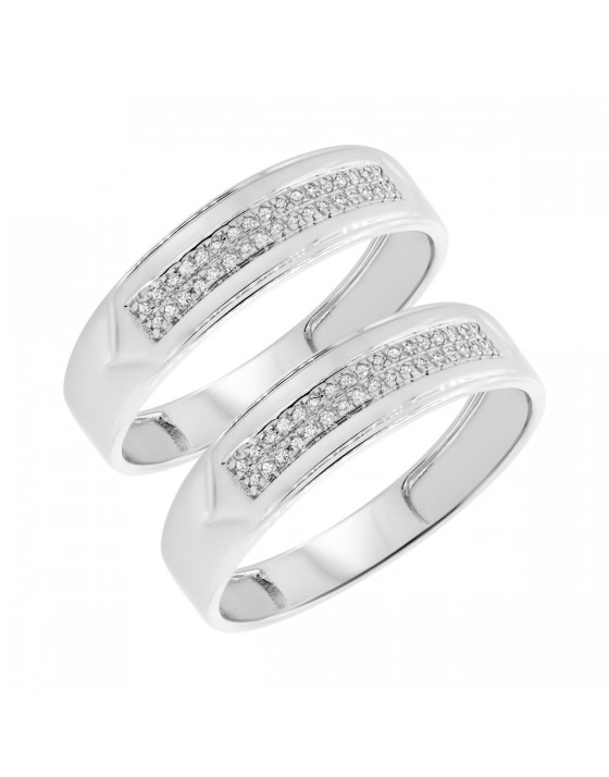 1/7 CT. T.W. Diamond Matching Wedding Band Set 10K White Gold