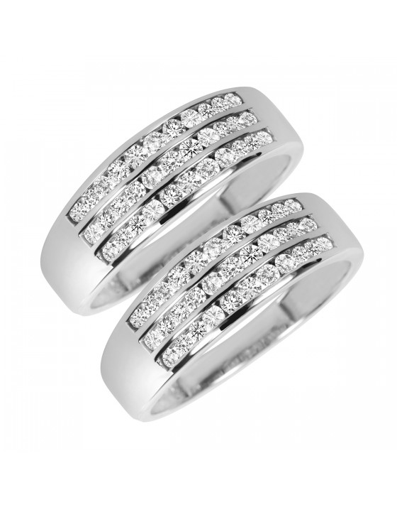 1 1/3 Carat T.W. Round Cut Mens Same Sex Wedding Band Set 14K White Gold
