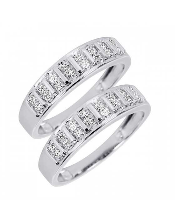 2/3 Carat T.W. Round Cut Mens  Same Sex Wedding Band Set 14K White Gold